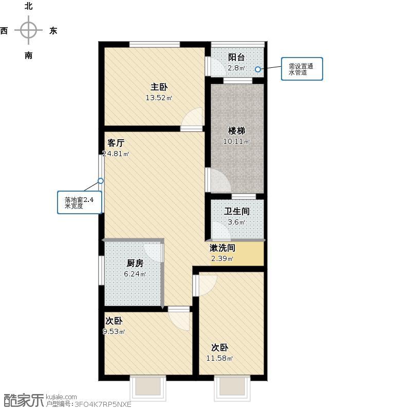 户型设计 二,三楼三室一厅户型图  四川 雅安 未知小区 套内面积:82.