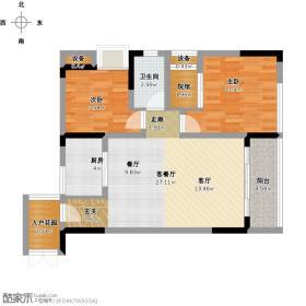未知小区东方剑桥A3号房户型2室1厅1卫1厨