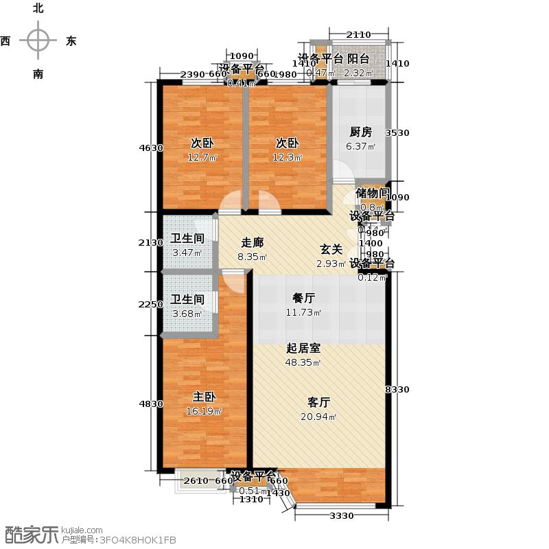 金雅园三室两厅一卫户型户型图大全