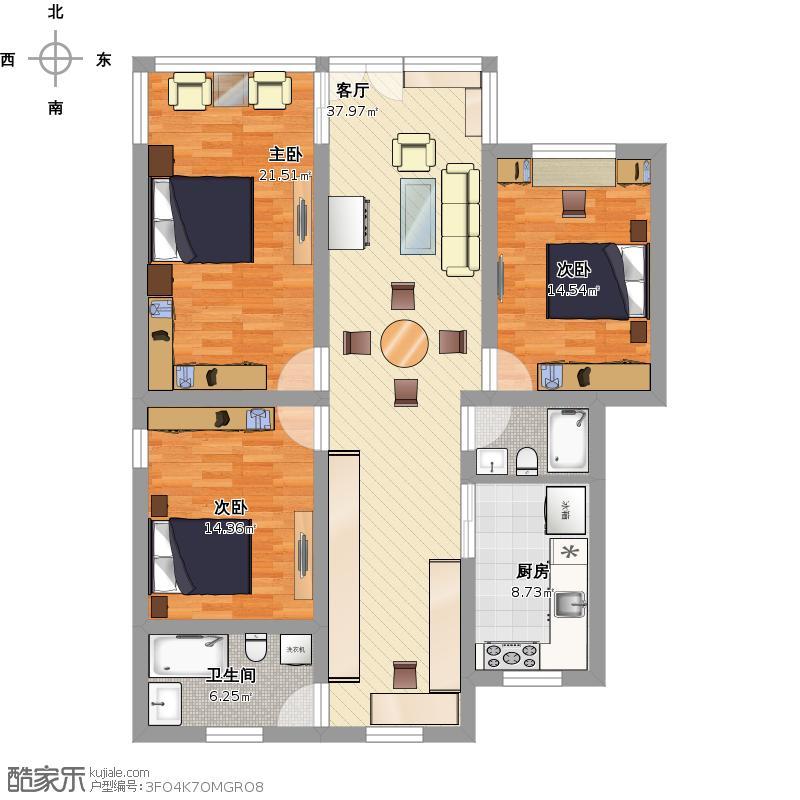 19号101室平面布置效果图
