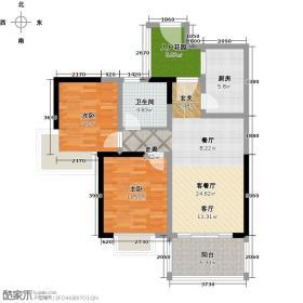 滨江花城78.93㎡5号楼二单元03-06户型2室2厅1卫