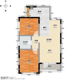 中海紫御观邸未命名LL户型2室1卫1厨
