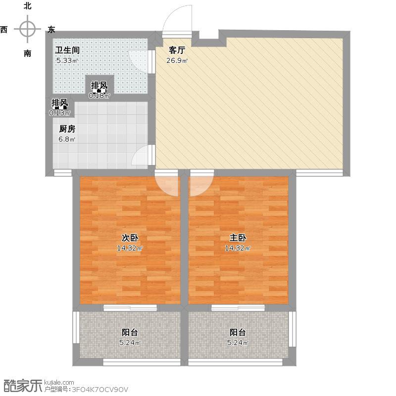 户型设计 永基城两室一厅  山东 济宁 未知小区 套内面积:78.