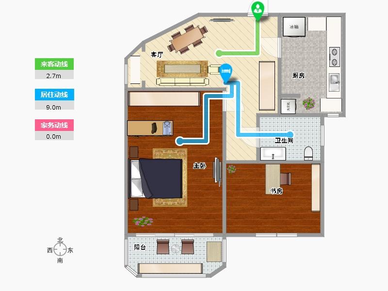 四室一厅一厨一卫长方形130平方宽7米长20米设计图展示图片