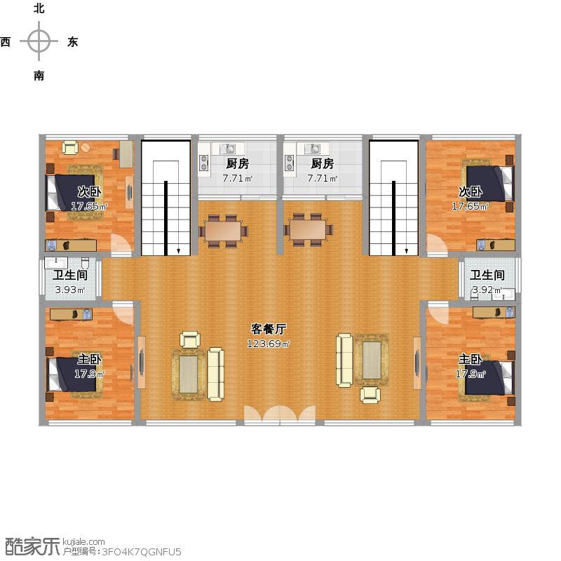 户型设计 一楼房子户型图  浙江 金华 未知小区 套内面积:218.