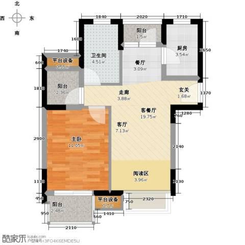 中翔丽晶55.00㎡中翔丽晶55.00㎡1室2厅1卫户型1室2厅1卫-副本