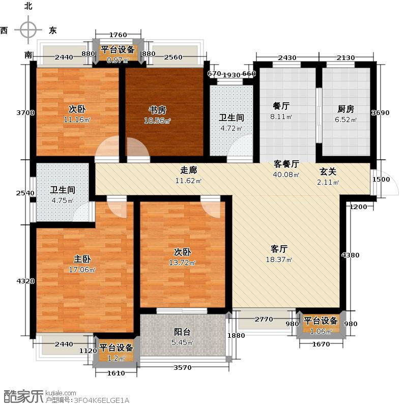 绿地国际花都花语香颂a1四室两厅两卫136-138平米户型