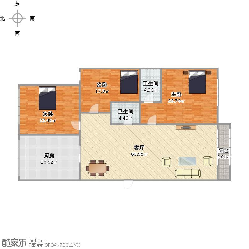 金色港湾三室两厅两卫户型图