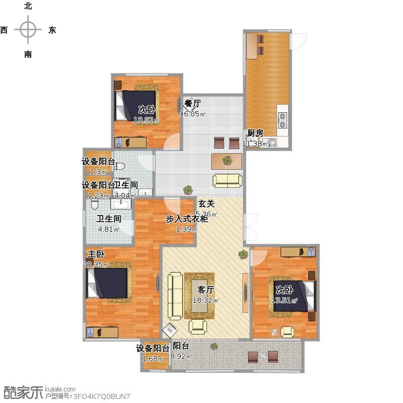 农村建房长方形三室两厅结构图