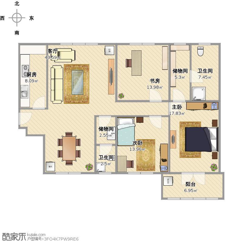 三室两厅两卫户型图大全