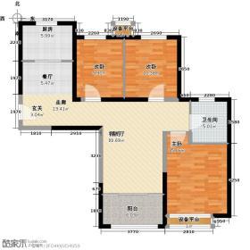 禧福・荷堂101.07㎡E户型3室2厅1卫