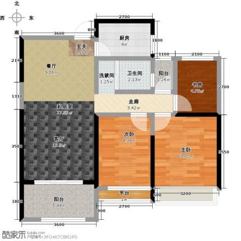 泽华・上东海岸78.00㎡A-2/C-2户型3室2厅1卫-副本
