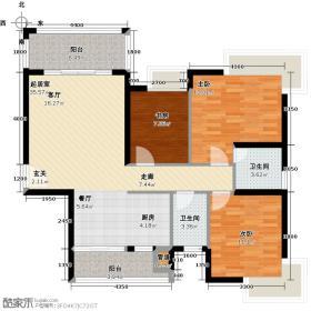 川海汇景龙湾112.09㎡3#楼B户型3室2厅2卫