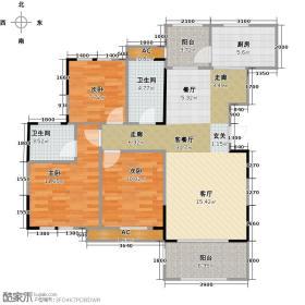 昌建星悦城c2户型3室2厅2卫