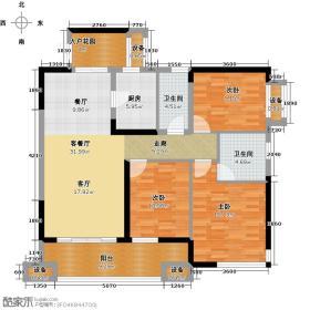 荣悦台户型3室1厅2卫1厨
