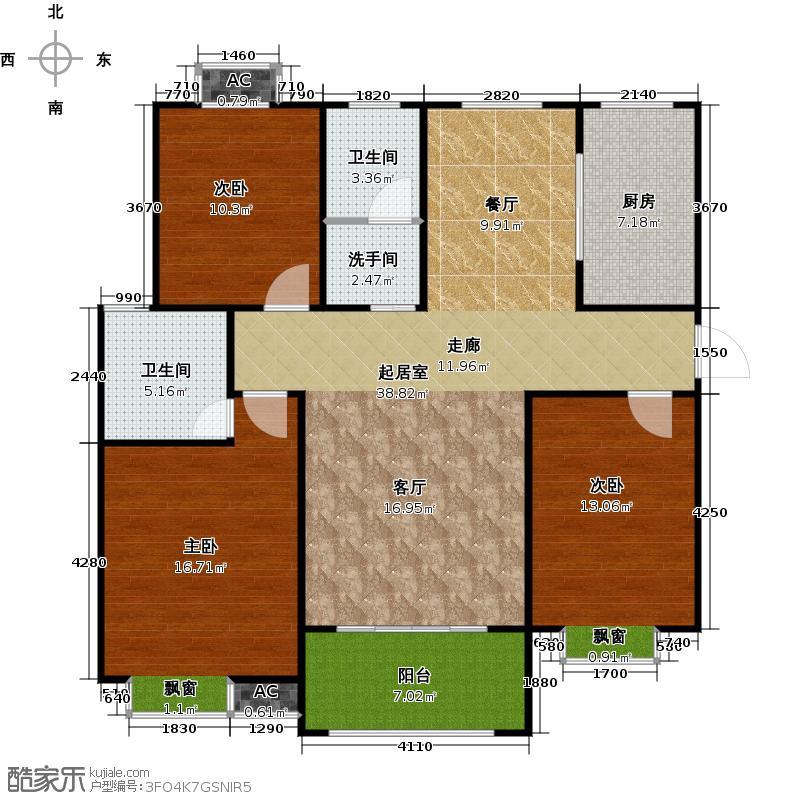 户型设计 盛世景园113.70㎡c1:三室二厅二卫113.