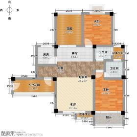 中南明珠89.71㎡3、4栋户型2室2厅2卫