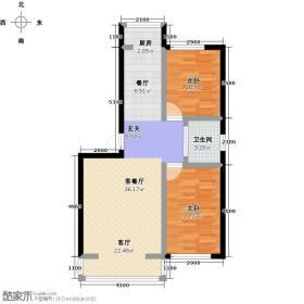 中凯锦街隆泰碧水山城多层两室两厅一卫91㎡O户型图户型2室2厅1卫