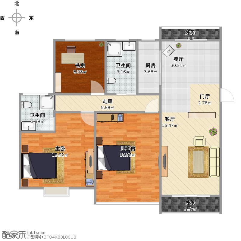户型设计 135平方三室两厅