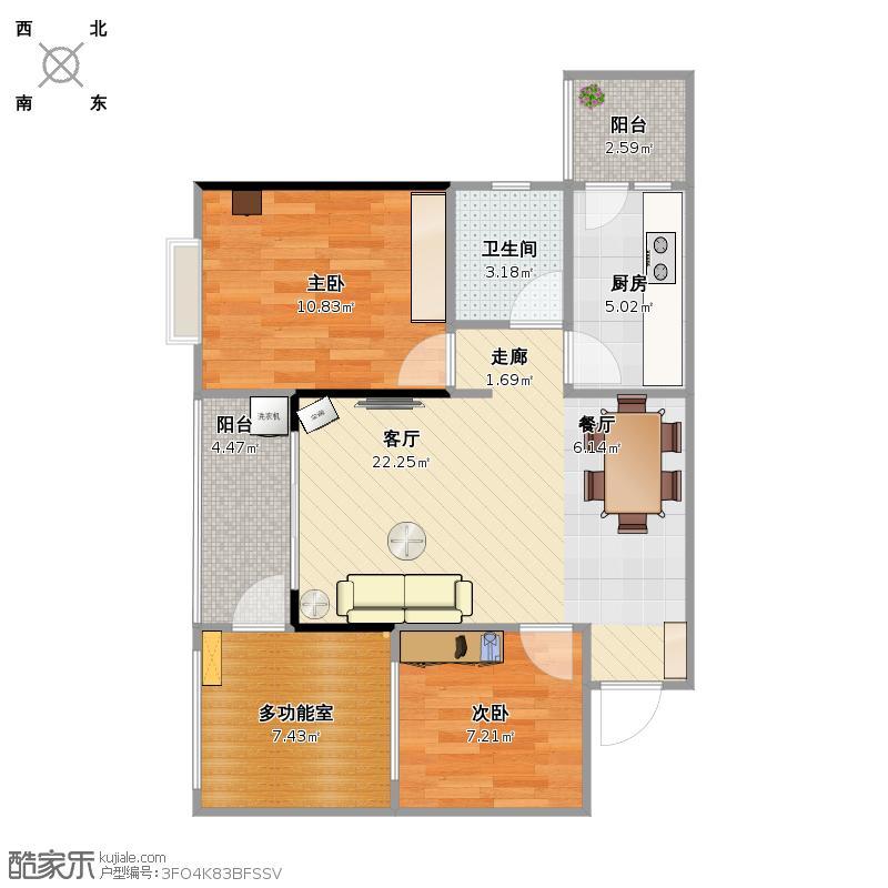 b4户型两室一厅(两室改三室)