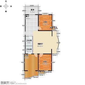 漪莲轩112.09㎡A边户型三室二厅二卫户型