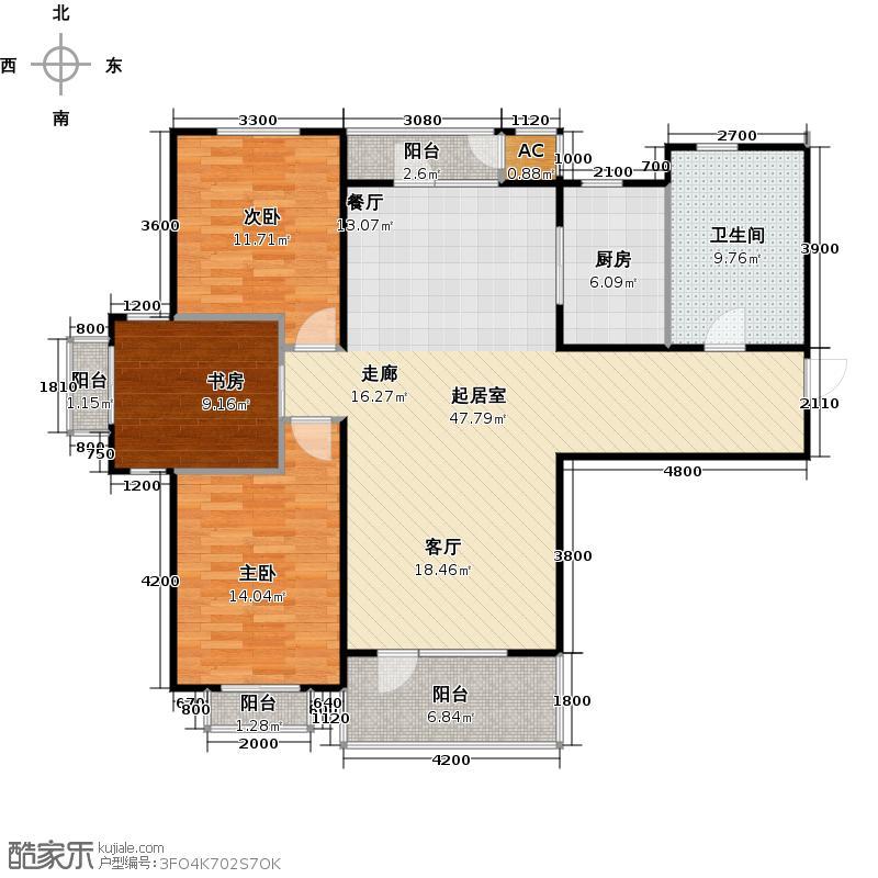 亿达普罗旺斯f户型 三室二厅一卫户型3室2厅1卫