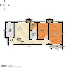 康诚锋尚公寓96.00㎡两室两厅一卫户型2室2厅1卫