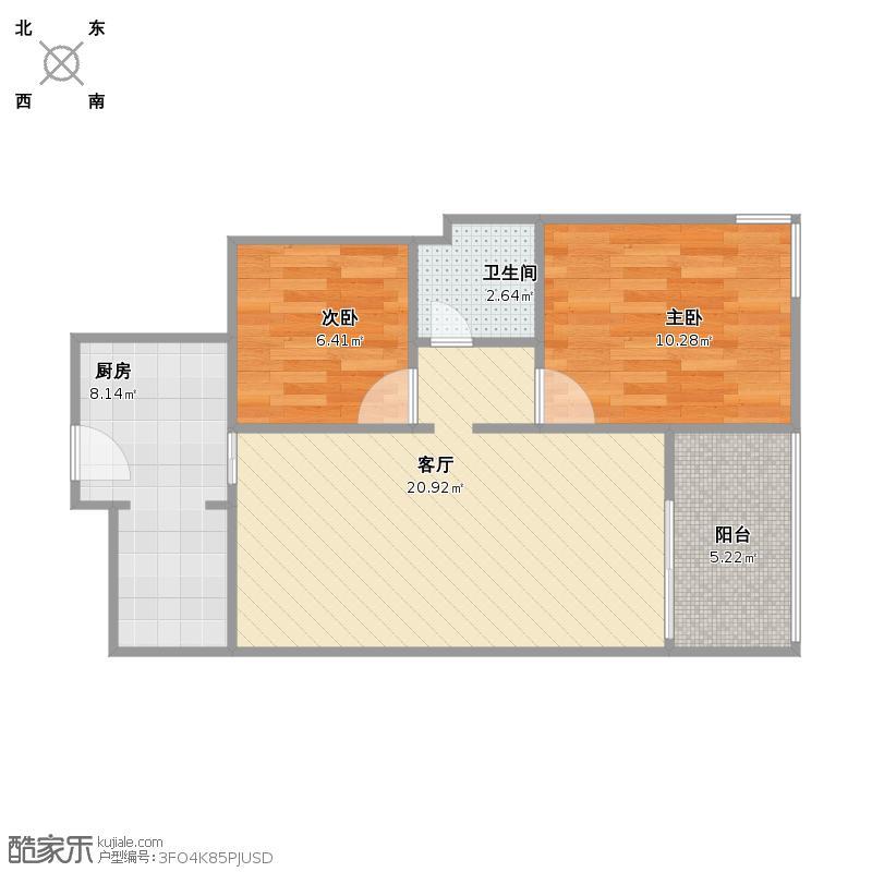 户型设计 复制的方案_祥瑞新城51方两室一厅  建筑面积:58.