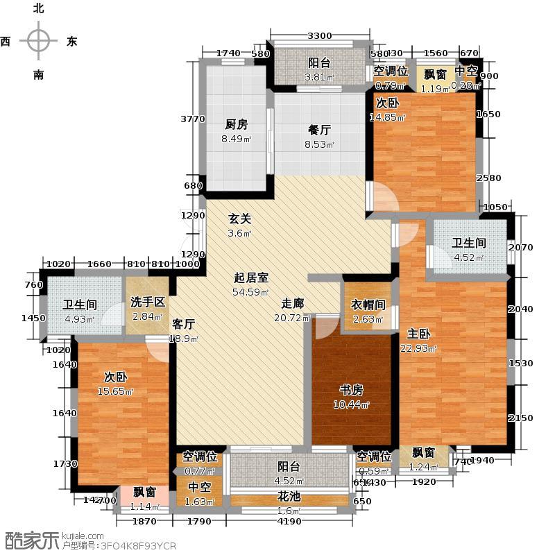 世茂香槟湖177.00㎡38#s户型四房两厅两卫户型4室2厅2图片