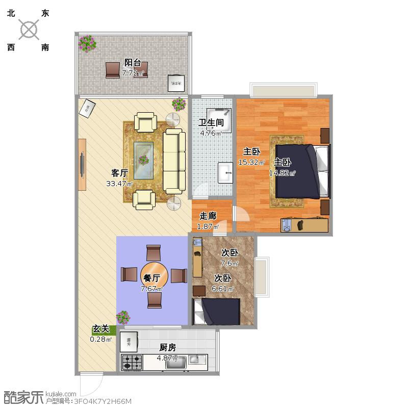 90平一廳兩房圖片