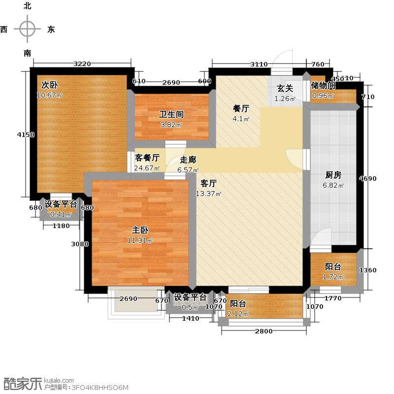 00㎡b4户型二室一厅一卫户型户型图