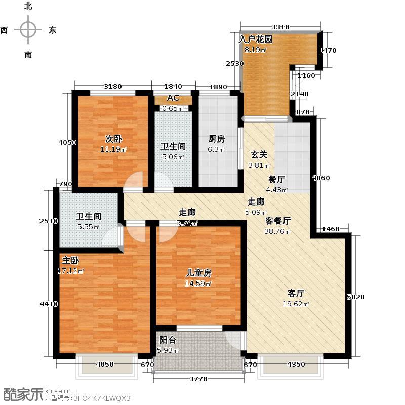 昭祥新城130.30㎡三室两厅两卫户型3室2厅2卫
