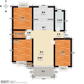 兴化玫瑰园120.60㎡F户型三室二厅一卫 面积120.6平米户型3室2厅1卫