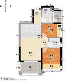 联诚中央公园72.19㎡两室两厅一卫一厨户型2室2厅1卫