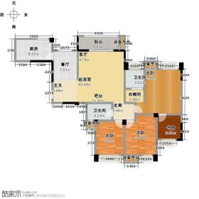 润扬金沙30度132.80㎡A1户型三室两厅两卫 实得146.8平米户型