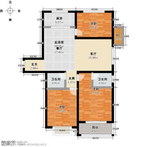天缘盛世113.84㎡三室二厅二卫户型3室2厅2卫-副本