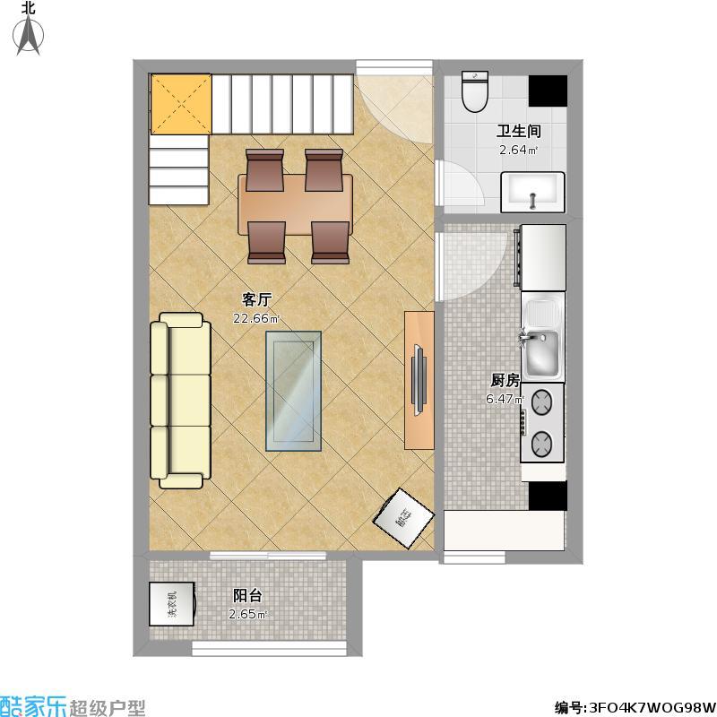 67平方a2三室两厅复式楼下户型图大全