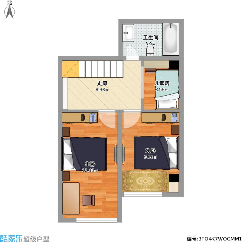 67平方a2三室两厅复式楼上户型图大全
