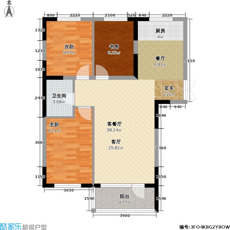 87平米三室一厅户型图