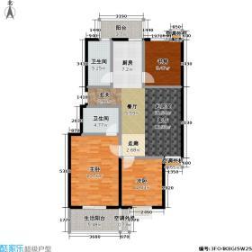 蓝田梅景户型3室2卫
