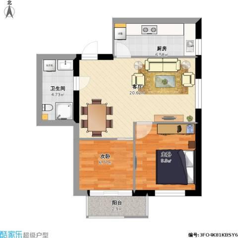 76.16平1-C户型两室两厅