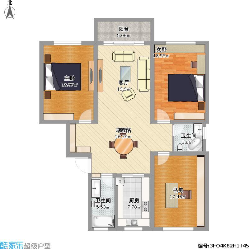 户型设计 红旗花园陈先生  江苏 无锡 红旗花园 套内面积:116.