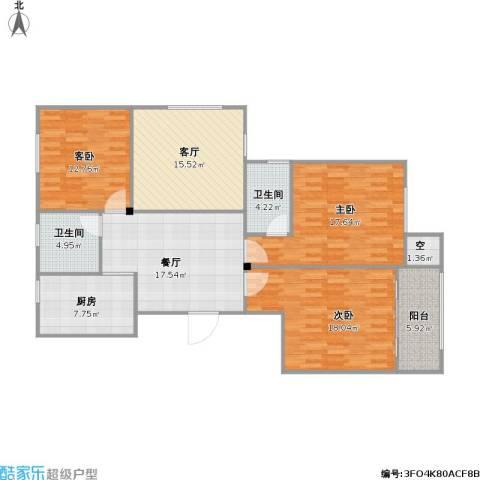 书香丽景户型3室2厅2卫1厨