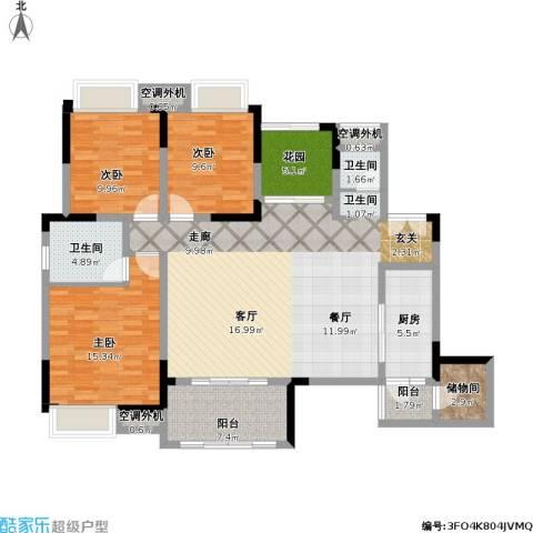 保利江上明珠锦园01户型3室1厅2卫1厨