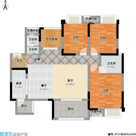 保利江上明珠锦园03户型3室1厅2卫1厨