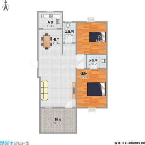 90平两室两厅两卫一厨