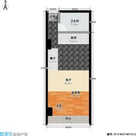 强佑清河新城商业60.74㎡I户型一室一卫户型