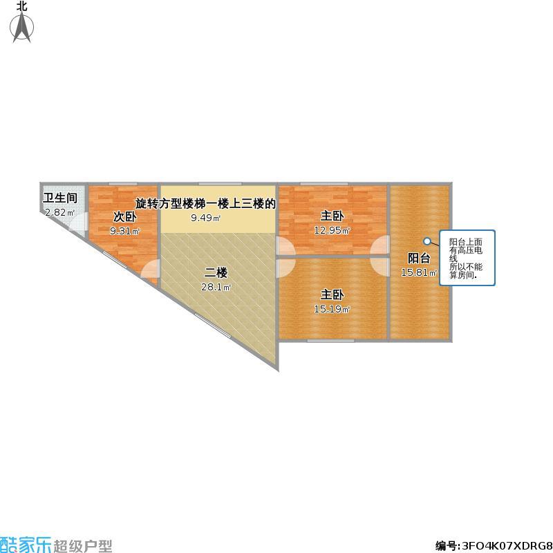 户型设计 自建家居房三角形二楼  湖南 永州 未知小区 套内面积:84.图片