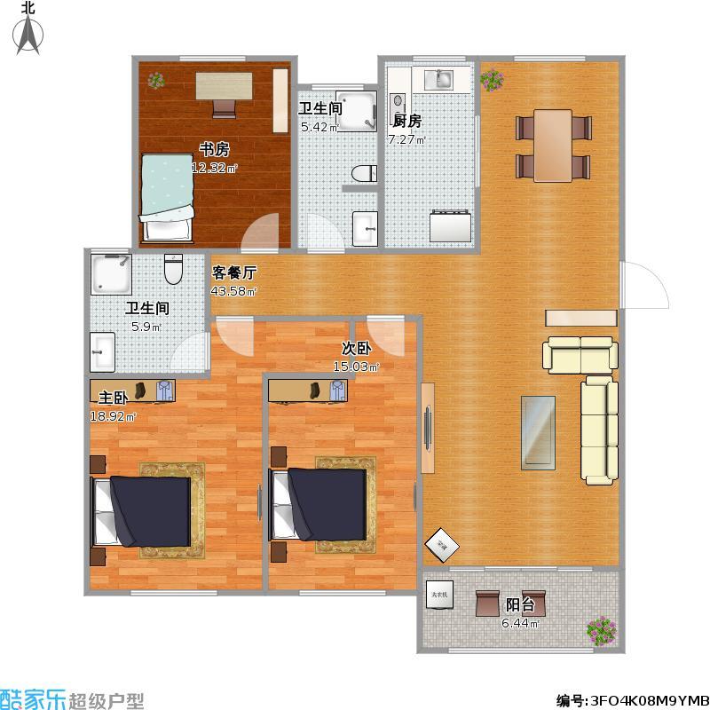 d4三室两厅两卫户型图大全