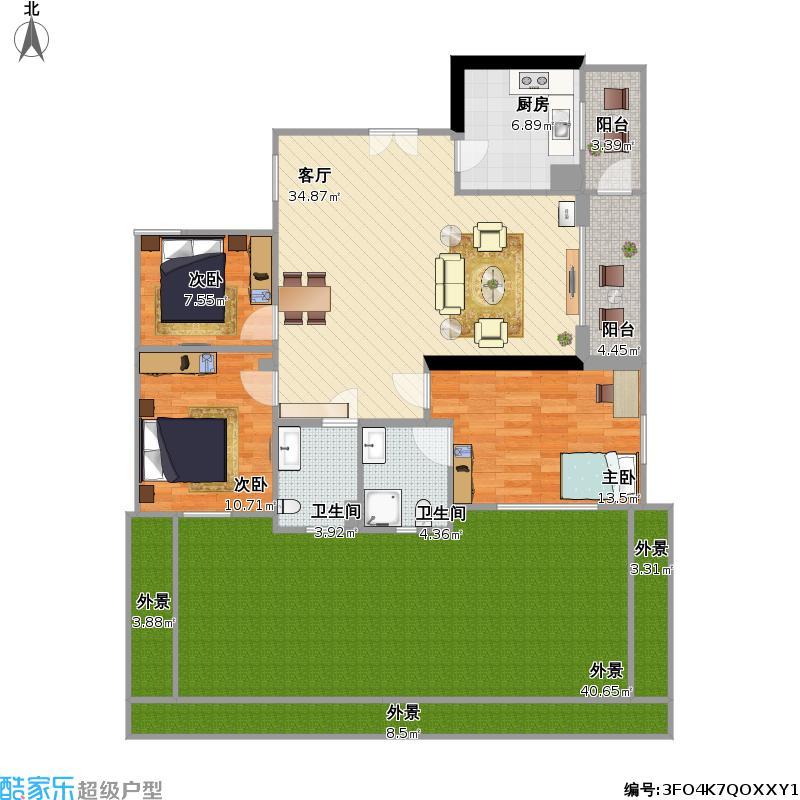 户型设计 3房2厅2卫_原始图  上海 sss 套内面积:145.